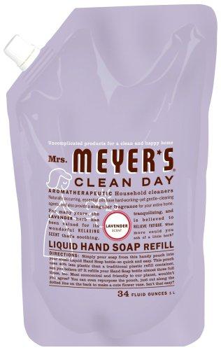 Mrs. Meyer's Clean Day Liquid Hand Soap Refills, Lavender 1 liter (33 fl.oz.) (Pack of 6)