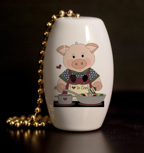Pig Chef Porcelain Fan / Light Pull