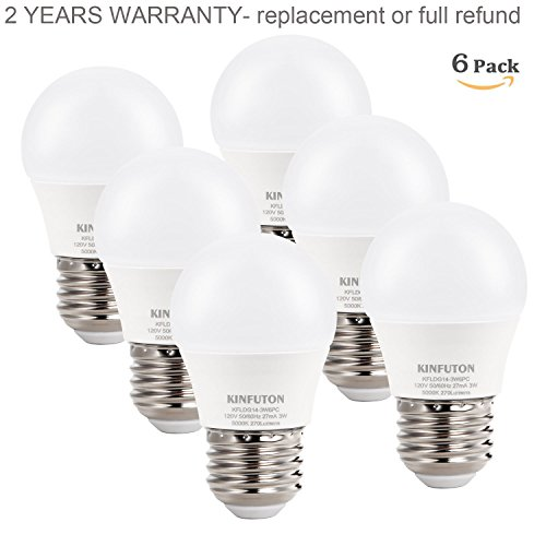 KINFUTON G14 3W Small LED Bulb Daylight White 5000K for Bathroom, Bedroom, Ceiling Fan, Chandelier,[25 Watt Equivalent][E26 Based][Energy Efficient light bulb string lights]-non dimmable -6 Pack (Led Globe Lights Small Base compare prices)