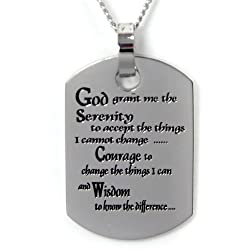 "Serenity Prayer Necklace with 18"" Chain. God Grant Me the Serenity... High Quality Stainless Steel Serenity Prayer Jewelry - FREE Velvet Pouch Included!"