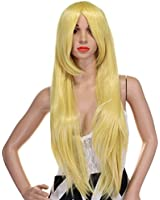 WELLKAGE 32-Inch Long Straight Costume Wigs for Women + Free Wig Cap