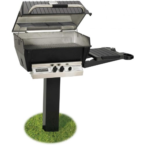 Broilmaster H3 Deluxe Natural Gas Grill On Black In-ground Post With Black Drop Down Side Shelf