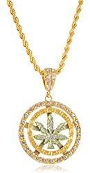 Goldtone or Silvertone - Sandblast Marijuana Leaf Double Circle & Stones Medium Pendant with a 30 Inch 5mm Rope Chain