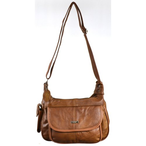 Ladies Leather Shoulder Bag   Handbag with Mobile Phone Pocket. ( Black   Brown   Fawn   Tan   Beige )