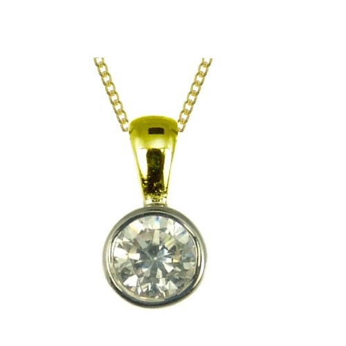 Ladies' Diamond Pendant Necklace, Rub Over Set, 9ct Yellow Gold Curb Chain, 46cm Length, 0.25 Carat Diamond Weight, I2 Diamond Clarity, Model 9-BP089DI/25