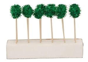 Creative Converting Glitz Green Pom Pom Cocktail Picks, 12 Sticks Per Package