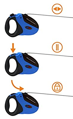 Retractable Dog Leash - Long (16 ft) - For Dogs up To 110 lbs with Instant Stop & Lock Mechanism - Durable & Tangle-free Ribbon Style Nylon Dog Leash