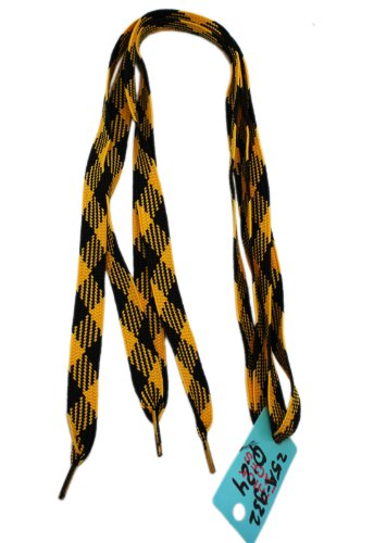 Yellow & Black Plaid Extra Thick Shoelaces - 50 mr niscar 10 pair width 0 8cm thick 0 2cm flat waxed shoelaces wax cotton shoe laces strings for leather shoes boots lace rope