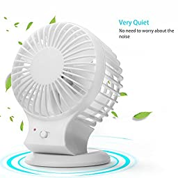 Veesee Rechargeable USB Mini Fan Strong Wind Portable for Home Office Outdoor White