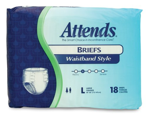 Attends Waistband Style Briefs, Large, 18 Count (Pack Of 2)