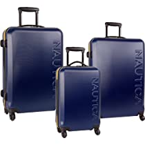 Nautica Luggage Ahoy 3 Piece Hardside Spinner Outer Shell Set, Navy/Yellow, One Size