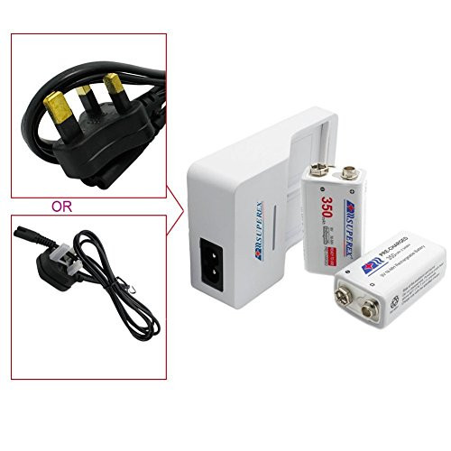 SUPEREX? RPC-S25WIN2UK 9V Li-ion Ni-MH Rechargeable Battery Charger Color White, Includes 2PCS 9Volt 350mAh Ni-MH Rechargeable Batteries (Plz pay attention to the battery's output voltage: 8.4V-10.5V)
