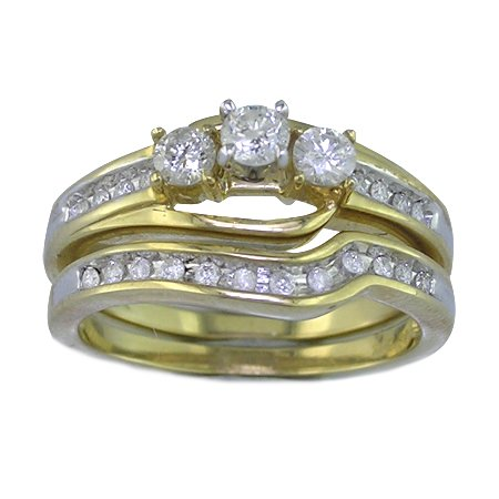 1/2 Ct. Diamond Wedding Ring & Band in Bridal Set In Yellow Gold, Available In Size 4, 5, 6, 7, 8 & 9.