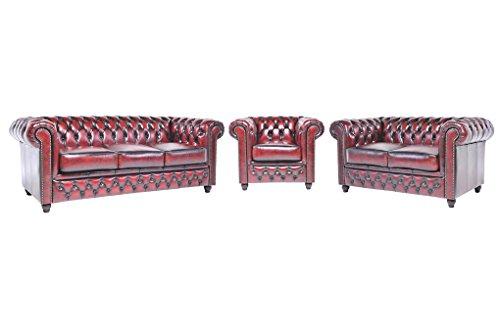 Chesterfield Showroom – Original Chesterfield Sofa / Couch – 1+2+3-Sitzer – Echtes Leder handgewischt – Antik-rot