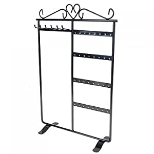Earring Necklace Jewelry Display Rack Stand Holder Organizer Black