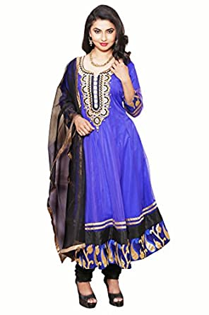 Anica Womens Net Anarkali Salwar Suit  Ef 00013B Xxl_Blue  available at Amazon for Rs.4400
