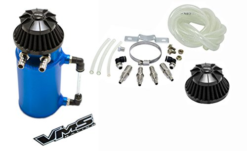 VMS Racing Universal Matte BLUE Aluminum OIL Reservoir CATCH CAN Canister Tank with Breather (Complete Kit) (Universal Catch Can compare prices)
