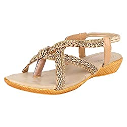 GRACETOP Women's Beige Synthetic Fashion Sandals - 41