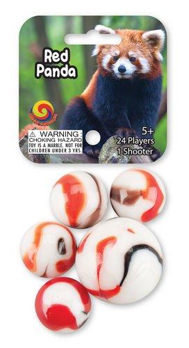 Red Panda Game Net Set 25 Piece Glass Mega Marbles - 1