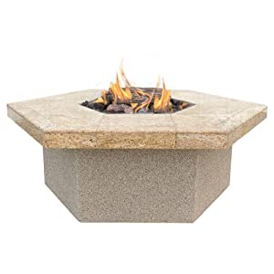 Cal Flame FPT-H401 Stucco and Tile Hexagon Gas Firepit