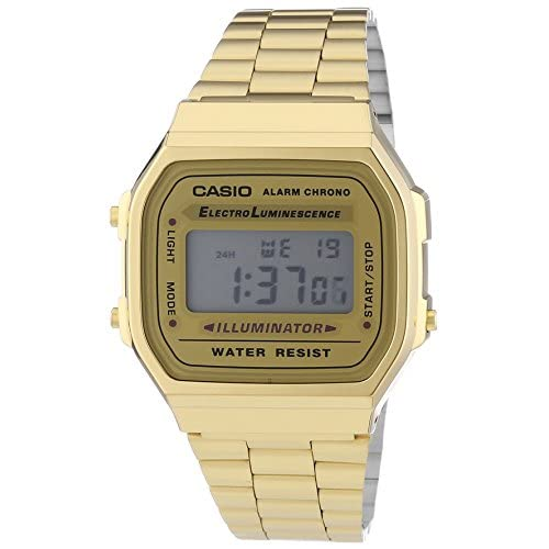 Casio  A168WG-9EF Men's Quartz Watch with Grey Dial Digital Display and Gold Stainless Steel Strap