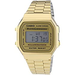 CASIO Collection A168WG-9EF - Reloj unisex de cuarzo, correa de acero inoxidable color oro (con alarma, cronómetro, luz)