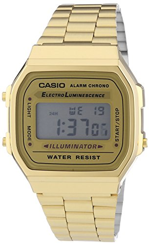 Casio Collection A168WG-9EF Orologio Digitale da Polso, Unisex, Acciaio Inox, Oro