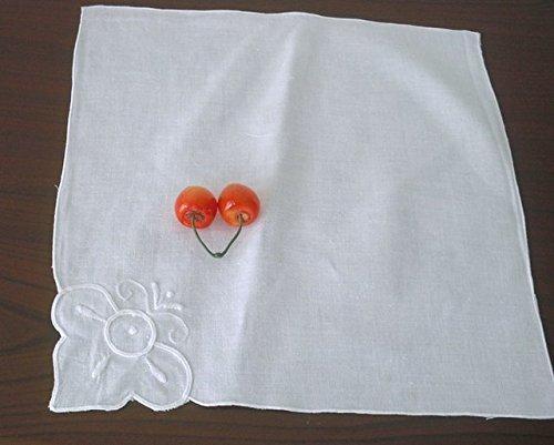 JFY Serviette Tischset Tischdecke Servietten gestickt weißer Baumwolle 26 * 28 Stoffservietten weiß