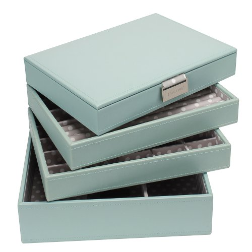 Stackers Jewelry Box Storage System - Pale Blue with Grey Polka Dot Color Soft Lined Interior - 4 Tray Set By LC Designs of London