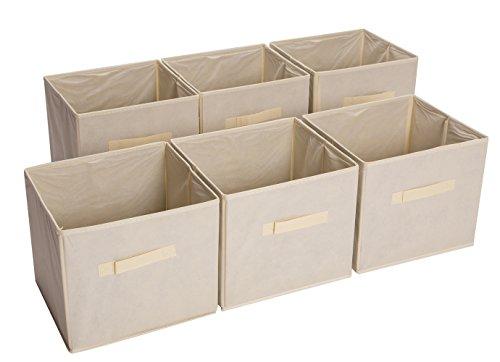 Bekith Set of 6 Foldable Fabric Storage Baskets, Beige
