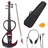 Cecilio 4/4 CEVN-3NA Solid Wood Electric/Silent Violin with Ebony Fittings in Style 3 - Full Size - Mahogany Metallic (Color: mahogany, Tamaño: full-size)