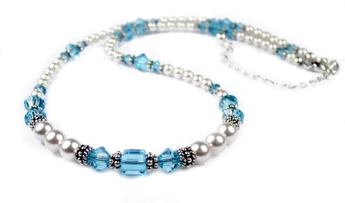 December Blue Zircon Beaded Swarovski Crystal Freshwater Pearl Birthstone Necklace in Sterling Silver