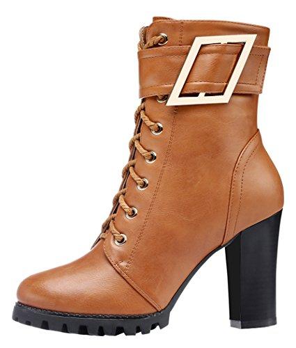 Guciheaven Women Winter New Style Metal Buckle Mid-Calf Boots Rough Heels(5.5 B(M)Us, Tan)