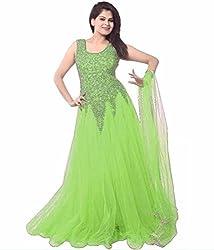 V-Kart Women's Net Semi Stitched Dress Material (Vkart_359_Green_Free Size)
