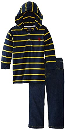 U.S. Polo Assn. Little Boys' Knit Hoodie and Denim Jean, Classic Navy, 5
