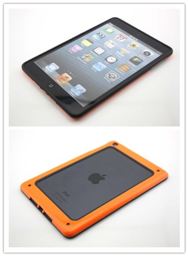 Nine States Vintage Ultra-Slim Protective Bumper Shell Case For Ipad Mini Soft Open Case Cover With Rubber Rim (Orange/Black)
