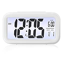 Alarm Clock, ELEGIANT Large Screen LED Digital Large Display Smart Blue Backlit Electronic Clock with Calendar Battery Operated for Travel Home Office (Temperature Display, Snooze Function) White