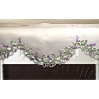 Embroidered mantel Scarf Valance with Lavender Lilac Flowers on Cream, 14 by 54 Inch, Machine Washable