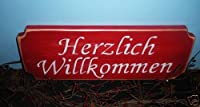 "Chic HERZLICH WILLKOMMEN ""Heartly Welcome"" German Sign by Prim and Proper Decor"