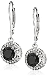 Sterling Silver 10mm Created Cubic Zirconia Halo Earrings