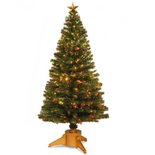 """National Tree Szrx7-100R-72 Fiber Optic """"Radiance"""" Fireworks Tree With Top Star With Gold And Gold Revolving Led Base, 72-Inch"""