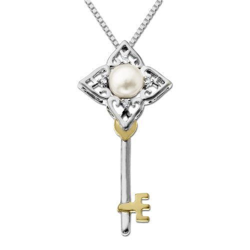 XPY Sterling Silver and 14k Yellow Gold 6mm Freshwater Cultured Pearl and Diamond Key Pendant Necklace (.02cttw, I-J Color, I3 Clarity), 18
