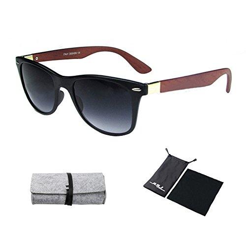 JULI Mens Womens Fashion Wayfarer Wood Bamboo Printed Crimson Arms Wrap 55MM Sunglasses 4195WN