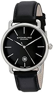 Stuhrling Original Men's 768.02 Ascot Silver-Tone Stainless Steel Watch with Black Leather Band