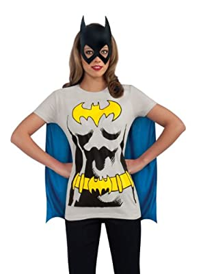 DC Comics Batgirl T-Shirt With Cape And Mask, Black, Large