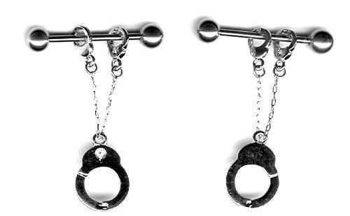 Nipple Ring Bars Handcuffs Body Jewelry Pair 14 gauge