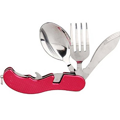 Utensils Set Stainless Steel with Nylon Pouch Folding Spoon Knife Fork 4 in1 Travel Camping Kit (Red)