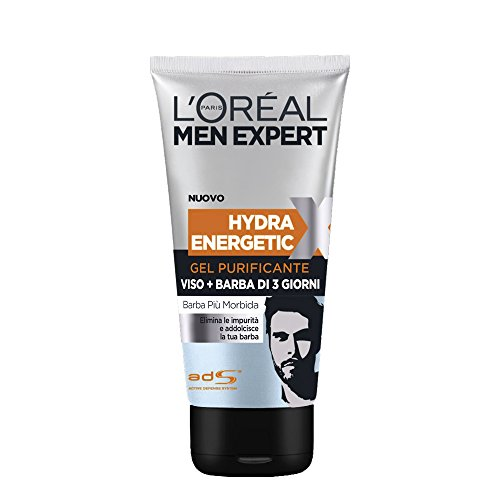 L'Oréal Paris Men Expert Hydra Energetic X Gel Purificante Viso e Barba di 3 Giorni - 150 ml