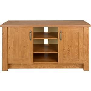 Essentialz dalton 2 door tv unit low sideboard oak for Oak effect kitchen wall units