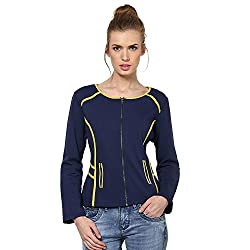 Kaxiaa Blended Blue Jacket For Women (Size-X-Large)